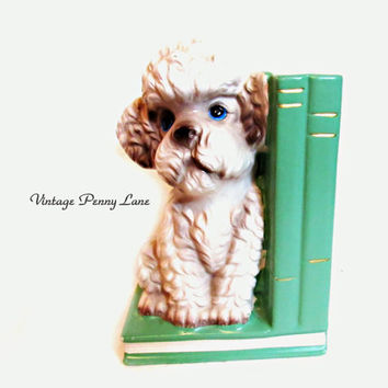 Vintage Ceramic Bookend, Poodle Dog, By Japan