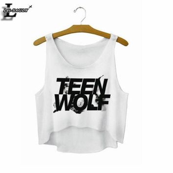 ESB1ON Lei-SAGLY 'Teen Wolf' Letters Crop Top Summer Style Tank Top Women Tops Cheap Clothes China Cropped Fashion Mujer  Camisole F722