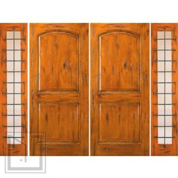 Prehung Double Door with Two Sidelites, External, Knotty Alder
