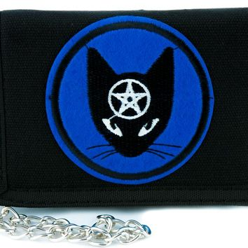 Witchy Black Cat Pentagram Tri-fold Wallet with Chain Alternative Clothing