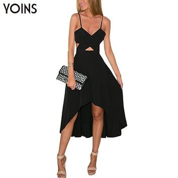 YOINS New 2017 Women Sexy Black Plunge V-neck Wrap Front Cut Out Irregular Hem Maxi Dress Fashion Backless Cami Dress Vestidos