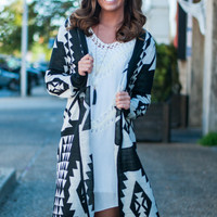 Aztec Empire Cardigan, Black/White
