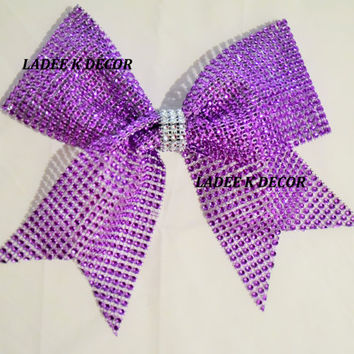 Large Bling Sparkle Cheer Bow Sparkle Hair Bow Rhinestone Mesh Team Cheer Bows Assorted Colors!