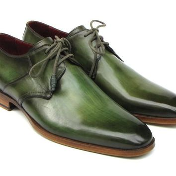 Paul Parkman Green Hand-Painted Derby Shoes Leather Upper and Leather Sole