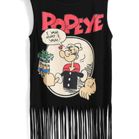 Black Popeye Cartoon Print Sleeveless Fringed Top