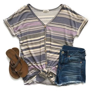Lavender Striped Button Down Top