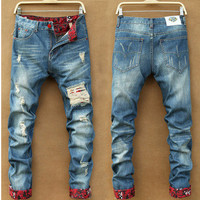 Summer Korean Men Ripped Holes Rinsed Denim Denim Pants Jeans [6528536387]