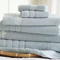 6 Piece Embroidered Egyptian Cotton Towel Set – Vintage Ribbon – (Blue)