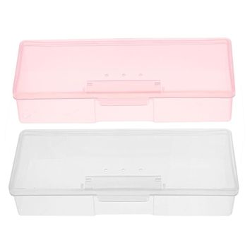 Plastic Transparent Nail Tools Storage Box Nail Rhinestone Decorations Buffer Files Grinding Organizer Case tools for manicure