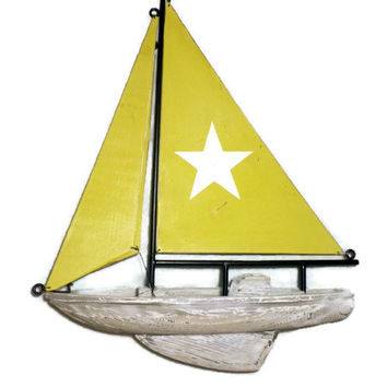Vintage Sailboat, Metal and Wood Ship, Painted Star Sail, Chippy Beach Nautical Decor