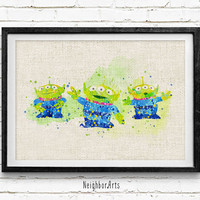 Toy Story, Aliens, Disney, Watercolor Print, Baby Nursery Room Art, Home Decor, Not Framed, Buy 2 Get 1 Free!