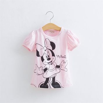 Baby Girls Cartoon Hello Kitty Tshirt Minnie Mickey Mouse Summer Short-Sleeved Casual T shirts for Kids Children's T-Shirts 20E
