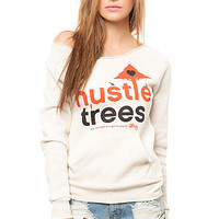 The Hustle Trees Raw Crewneck Sweatshirt in Cream