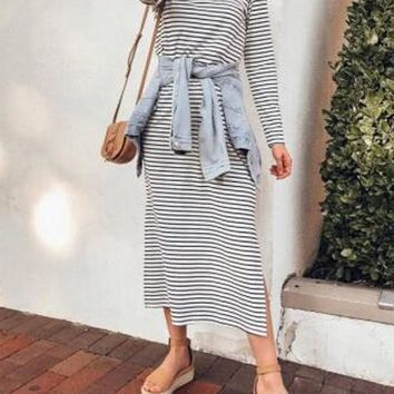 New White-Black Striped Draped Side Slit Oversized Casual Maxi Dress