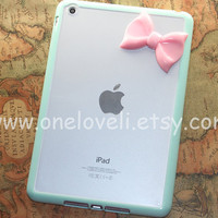 iPad mini case,Leopard Decal ipad case,cheetah iphone 5 case with pastel pink bow ipad case, mint green ipad cover