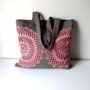 Canvas and vintage crochet lace tote bag, khaki and rose tote bag, lace shoulder bag, woman handbag