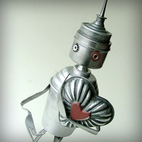 valentine tinman robot recycled assemblage art by leuckit on Etsy
