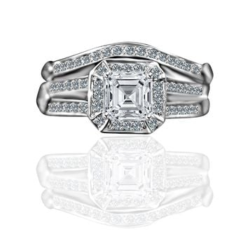 1 CT. Intensely Radiant Square Center Simulated Diamond - Diamond Veneer Wedding/Engagement Set Sterling Silver Ring. 635R71637