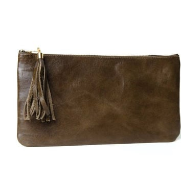 Bree Tassle Olive Leather Clutch Handbag