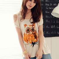 Apricot Owl Pattern Loose Tee