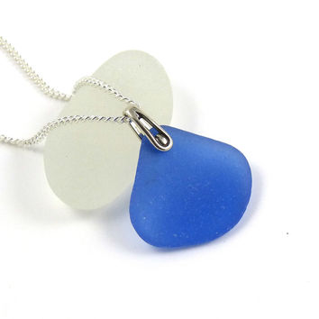 Rare Cornflower Blue Sea Glass Necklace - ELENA