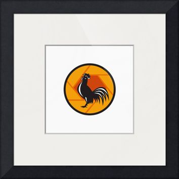 """Rooster Crowing Shutter Circle Retro"" by Aloysius Patrimonio"