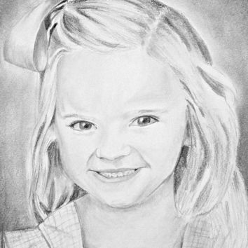 Little Girl Portrait - Custom Portrait Drawing - Custom Portrait from Photo - Toddler Portrait - Pencil Sketch Portrait