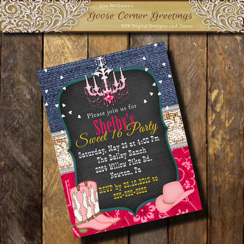 COWGIRL BIRTHDAY HOT Pink Invitation/Denim Burlap Lace Sweet 16 21st 30th 40th Boots Hat  Chandelier Bridal Shower Western Invite Bandana