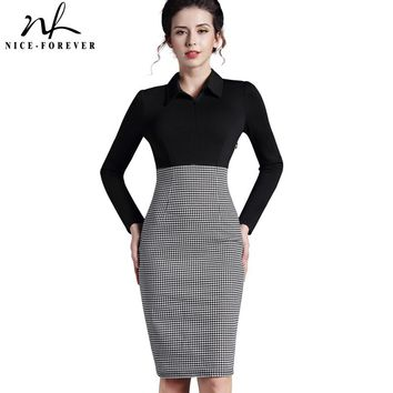 Nice-forever Patchwork Lady Long sleeve Victoria Winter Vintage Houndstooth Turn-down Collar Women Office Bodycon Dress B31
