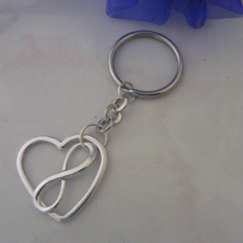 Infinity Symbol and Heart  Key Chain Eternal Love Friendship Charm KeyChain Gift Mom Mother Wives