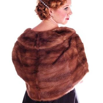 Vintage Stole Short Whiskey Colored Mink Stole Silk Lined 1950S