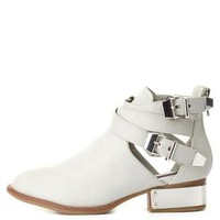 Dollhouse Belted & Silver-Plated Ankle Boots