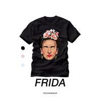 Frida Khalo Floral Pattern Illustration T shirt Crew neck Famous Artist Van Gogh