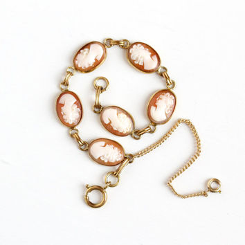 Vintage 12k Yellow Gold Filled Cameo Bracelet - 1950s Carved Genuine Shell Oval Linked Panel Victorian Style Female Silhouette Jewelry