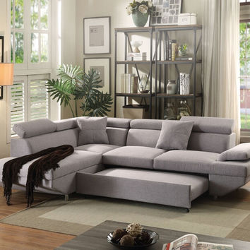 Acme 52990 2 pc Jemima gray fabric sectional sofa set with pull out sleep area