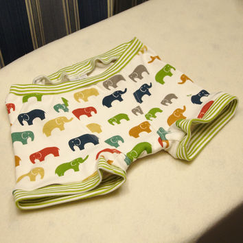 Elephant print boxer briefs, boys organic cotton boxer briefs, boys training pants size 1T 2T 4T 6 8 10