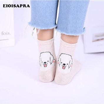 [EIOISAPRA]Followed By Dog Cute Jacquard Art Funny Socks Women 5 Different Cartoon Sokken Harajuku Socks Kawaii Calcetines Mujer