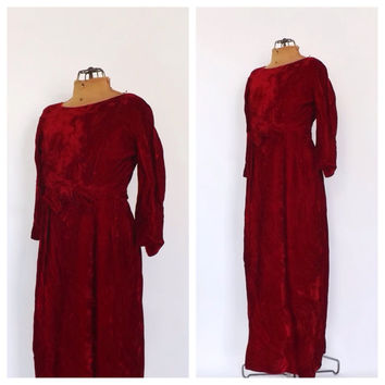 Vintage 1950s 60s Red Velvet Holiday Dress Party Cocktail Wiggle Mad Men Maxi Gown Small Medium Prom Jackie O Medieval Renaissance Victorian