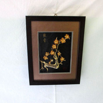 Metal wall sculpture decor, unique gift for mom, Plum blossom flower art decals