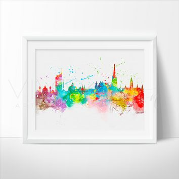 Vienna Skyline Watercolor Art Print