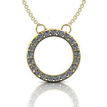 Petite Circle Pendant Necklace - Moissanite Circle Necklace .63 ctw