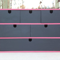 Hot pink and black wood storage box with drawers - Painted box, jewelry box, craft box, tool box, kitchen organizer