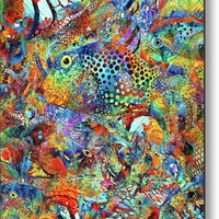Tropical Beach Art - Under The Sea - Sharon Cummings Metal Print