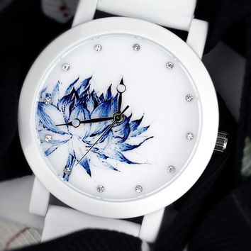 2017 lady gift Enmex brief Lotus chinese style original design Oriental Graceful Underglaze blue  fashion quartz watches