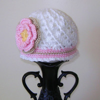 Baby Girl Hat Infant Hat Photo Prop Crochet Baby girl swirl beanie with flower newborn, 0-3 months, 3 to 6 months