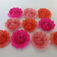 "Shades of Pink Roses, set of 10, big 3"" paper flowers, Princess theme birthday party decor, baby nursery wall art, girl shower decorations"