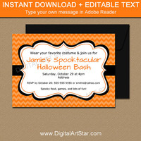 Halloween Birthday Invitations, Orange Halloween Party Invites, DIY Halloween Printables, EDITABLE Orange Invitations, Digital Download