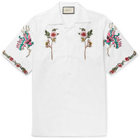 Gucci - Camp-Collar Embroidered Cotton Oxford Shirt