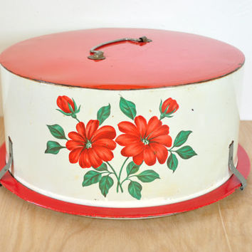Vintage 1950s Cake Carrier, Red with Lithographed Flowers by Decoware