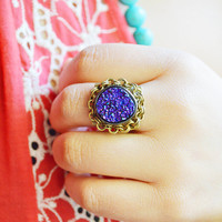 Druzy Ring / Purple and Blue Druzy Framed with Brass Chain